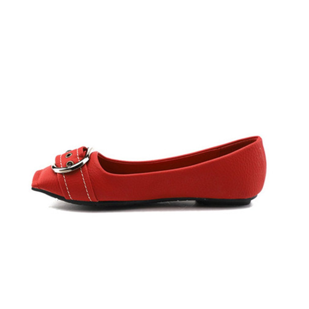 York Zhu Ballet Flats Fot Women, Square Toe Metal Buckle Soft Retro Cowboy Shoes B07DLNLMDP 10 B(M) US|Red