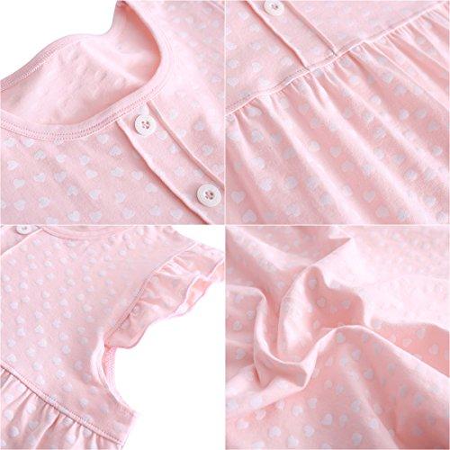 DGAGA Little Girls Princess Nightgown Cotton Lace Bowknot Sleepwear Nightdress (7-8 Years/140cm, Pink) by DGAGA (Image #3)