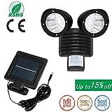 iMeshbean Indoor/Outdoor Solar Security Detector Light, Dual Head Exterior Solar Motion Sensor 22 LED Waterproof Lamp Light Bright Garden Light Adjustable with 16ft Cord (Black)