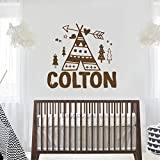 Personalized Boys Name Decal Teepee Arrow Wall Decals Boys Nursery Decor Tribal Vinyl Wall Decal (22''h x 23.5''w PLUS FREE WELCOME DOOR DECAL)