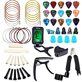 Bosunny 60 PCS Guitar Accessories Kit Including Guitar Picks,Capo,Tuner,Acoustic Guitar Strings,3 in 1String Winder…