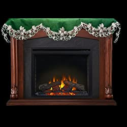 "19"" X 90"" Wide Fireplace Mantel Scarf with White Butterflies on Green Linen by Linens, Art and Things"