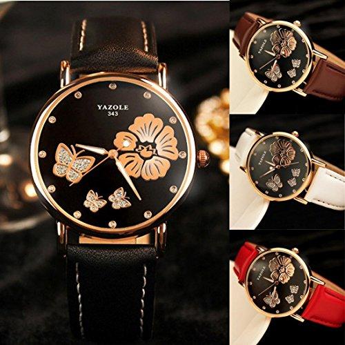Womens Watch , IKevan YAZOLE Butterfly Flower Leather Quartz Wedding Wristwatches Women