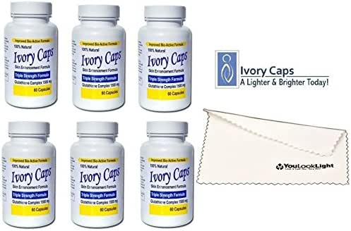 (Pack of 6) Ivory Caps Skin Whitening Lightening Max Glutathione 1500mg Pills + 1 Youlooklight Screen/ Phone Cleaning Cloth