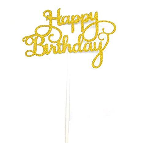DooXoo Decorazione glitterata dorata/argentata per torte, con scritta Happy Birthday, per festa di compleanno e per bambini Gold Happy Ct