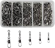 300pcs/box Fishing Swivel Snap Kit Rolling Barrel Swivel with Safety Snap Connector Fishing Tackle Accessories