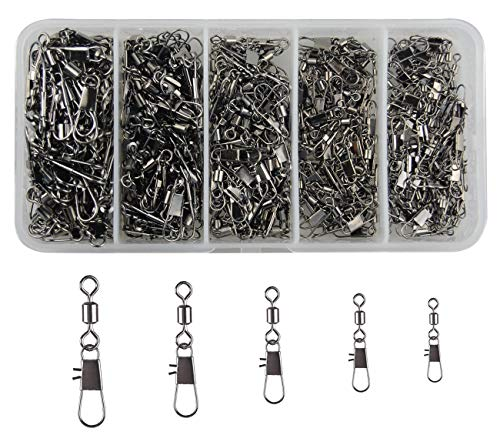 JSHANMEI 300pcs/lot Fishing Swivel Snaps Copper & Stainless Steel Rolling Swivel Interlock Snap Lure Connectors Accessories Fishing Tackle Box Kit Size 2,4,6,8,10
