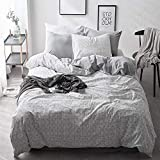 VClife Washed Cotton Bedding Sets Grey Reversible Bedding Duvet Cover Sets Plaid Geometric Bedding Comforter Cover Sets, Hotel Quality, Hypoallergenic, Stain, Wrinkle, Fade Resistant, Queen