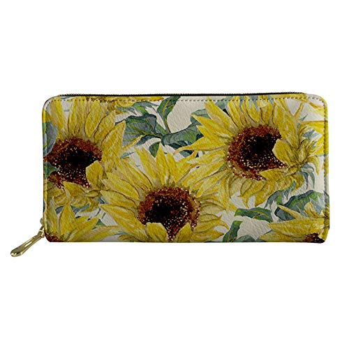 Mumeson Vintage Sunflower Print Women Leather RFID Wallet Clutch Purse Card Holder with Coin Pocket