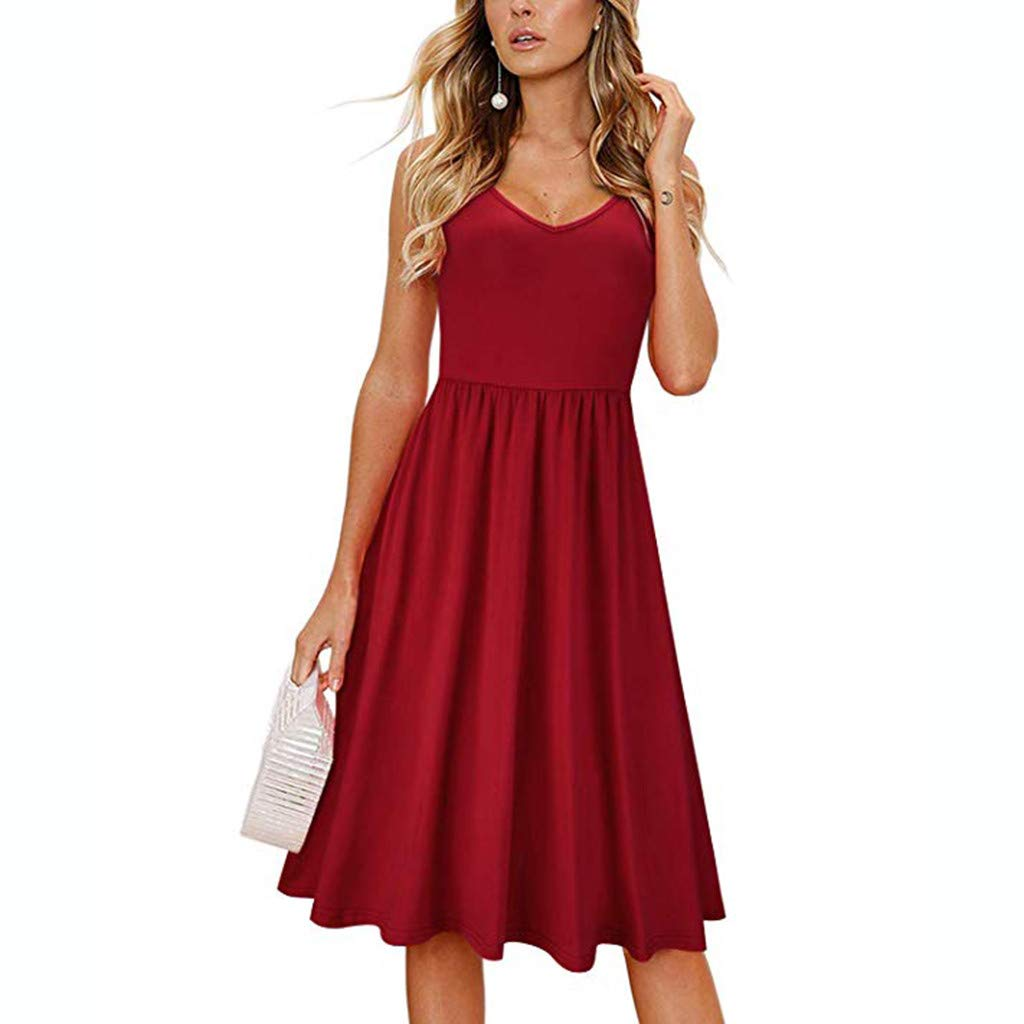 Womens A-Line Long Dresses Sexy Small Strap V-Neck Halter Hollow Bow Lotus Hem Solid Color Dress (L, Red) by KoLan Women Dress (Image #1)