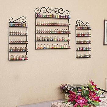 go2buy Metal Nail Polish Wall Rack 5 Tier Organizer Display Rack Black (holds over 200 bottles)