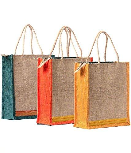 56ef7372ae28 Indian Stallion Trendy Plain 3 Jute Lunch Bag Combo  Amazon.in  Garden    Outdoors