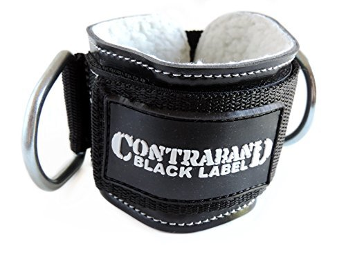 Contraband Black Label 3025 3inch Double Ring Pro Ankle Cuff - Perfect Ankle Strap for Glute Kickbacks on Cable Machines - Adjustable Heavy Duty Nylon Strap & Metal D-Rings - For Men & Women (SINGLE)