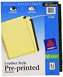 Avery Black Leather Pre-Printed Dividers, A-Z, 25-Tab Set, 1 Set (11350)