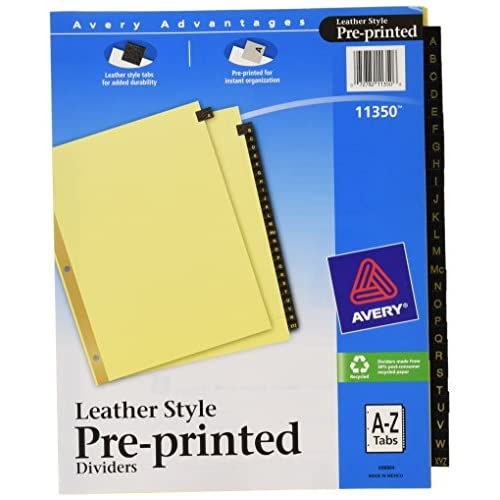 Avery Black Leather Pre-Printed Dividers, A-Z, 25-Tab Set, 1 Set (11350) supplier