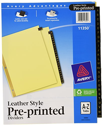 Az Leather Look Tab Dividers (Avery Black Leather Pre-Printed Dividers, A-Z, 25-Tab Set, 1 Set (11350))