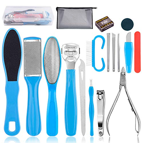 Professional Pedicure Tools Kit 18 in 1, Inpher Stainless Steel Foot Rasp Foot Peel and Callus Clean Feet Dead Skin Tool Set, Nail Toenail Clipper Foot Care Kit for Women Men Salon or Home in USA