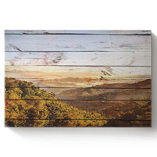 Arts Language Paint by Number Acrylic Kits for Adults Kids Mountains Under Wood Texture DIY Oil Paintings Canvas Framed Wall Art Decor for Livingroom Bedroom 16x20in