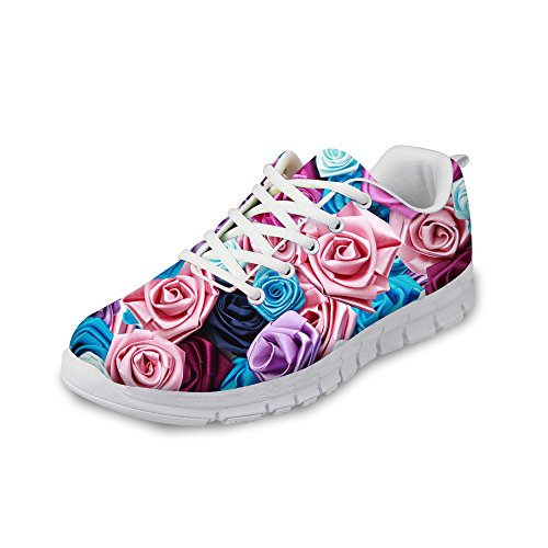 Shoes Fashion Vintage Running Purple Sneaker FOR Print DESIGNS Walking D Women's U Rose Floral Comfortable qwxg074