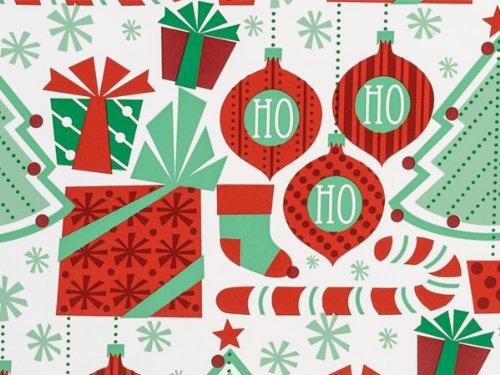 BRAND NEW RETRO HO HO HO Christmas Ornaments Holiday Gift Wrap Wrapping Paper 16 Foot (Retro Gift Wrap)