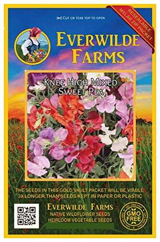(Everwilde Farms - 50 Knee High Mix Sweet Pea Wildflower Seeds - Gold Vault Jumbo Seed Packet)