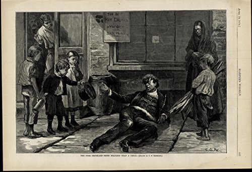 Drunk Man Lying on the Street Children Alcohol 1874 great old print for display ()
