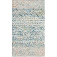 Safavieh Safran Collection SFN563A Hand-loomed Turquoise and Peach Distressed Bohemian Cotton Area Rug (3 x 5)