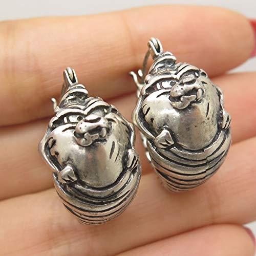 (VTG 925 Sterling Silver Tasmanian Devil Earrings)