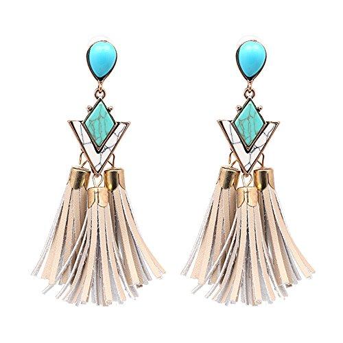 lureme Bohemia Turquoise Chandelier Stud Drop Dangle Tassel Earrings for Women-Beige(er005667)