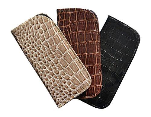 3 Pack Eyeglass Slip Case For Women & Men - Glossy Croco In Beige, Brown & - Scratch Sunglasses Vinyl