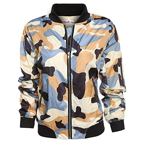 AiSiC Women Long Sleeve Zip Up Camouflage Bomber Jacket