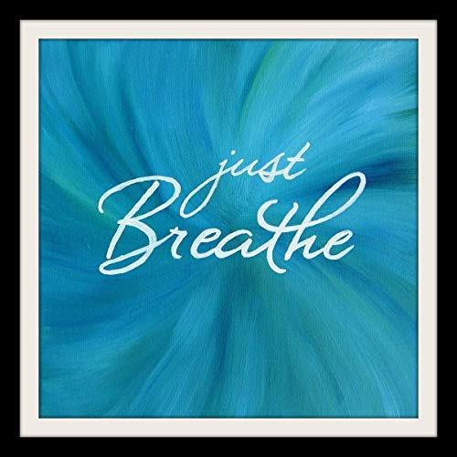 Just Breathe 12×12 Wall Art Inspirational Quote Print Teal Artwork Square Print
