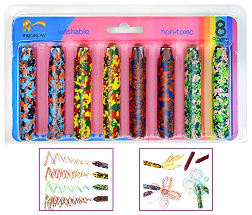 Mixed-Colors Crayon Set, Washable Non Toxic Crayons Safe for Toddlers, Kids and Children, Colorful Fun Colors Perfect Party Favor, Pack of 8 -