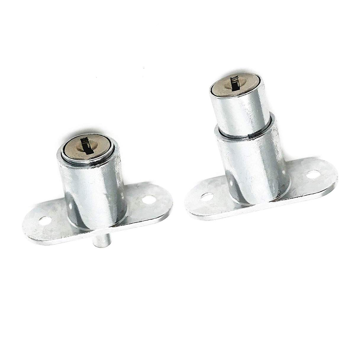 Keyed Different COMOK 6Pcs Push Plunger Lock 19mm Cylinder Zinc Alloy Chrome Finish