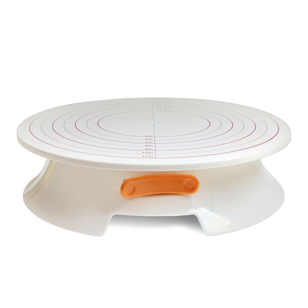 回転Moyadケーキデコレーション用ターンテーブルケーキスタンドwithスケール表示とロックデバイス、11インチ、ホワイト   B077JTY8SR