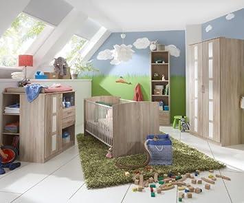 Komplett Babyzimmer Eiche Weiss Kleiderschrank Gitterbett