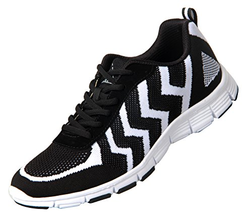 iLoveSIA Men's Lightweight Comfort Walking Running Sneaker Shoes Black+White qKGbjPpuzz