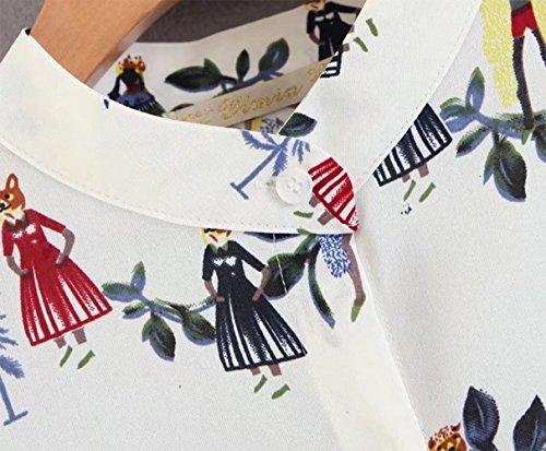 white Abito manica con corno chiffon in stampata PW joker APdfq8gxw