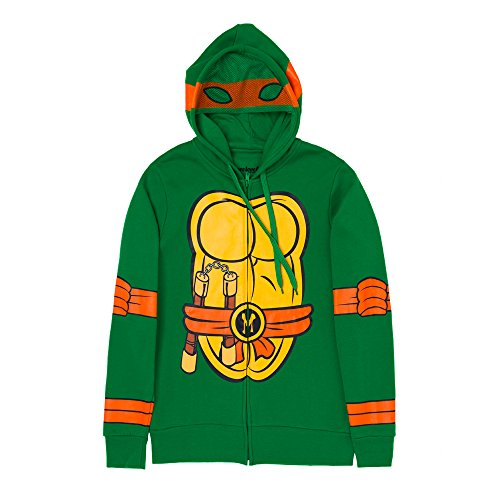 Adult Ninja Turtle Outfit (Teenage Mutant Ninja Turtles I Am Costume Zip Up Hoodie (XX-Large, Michelangelo))