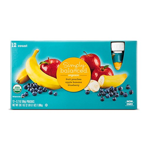 - Apple Banana Blueberry Fruit Pouch 12ct - 3.2oz - Simply Balanced