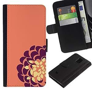 Planetar® Modelo colorido cuero carpeta tirón caso cubierta piel Holster Funda protección Para Samsung Galaxy S5 Mini / SM-G800 (Not For S5!!!) ( Purple Yellow Flower Floral )