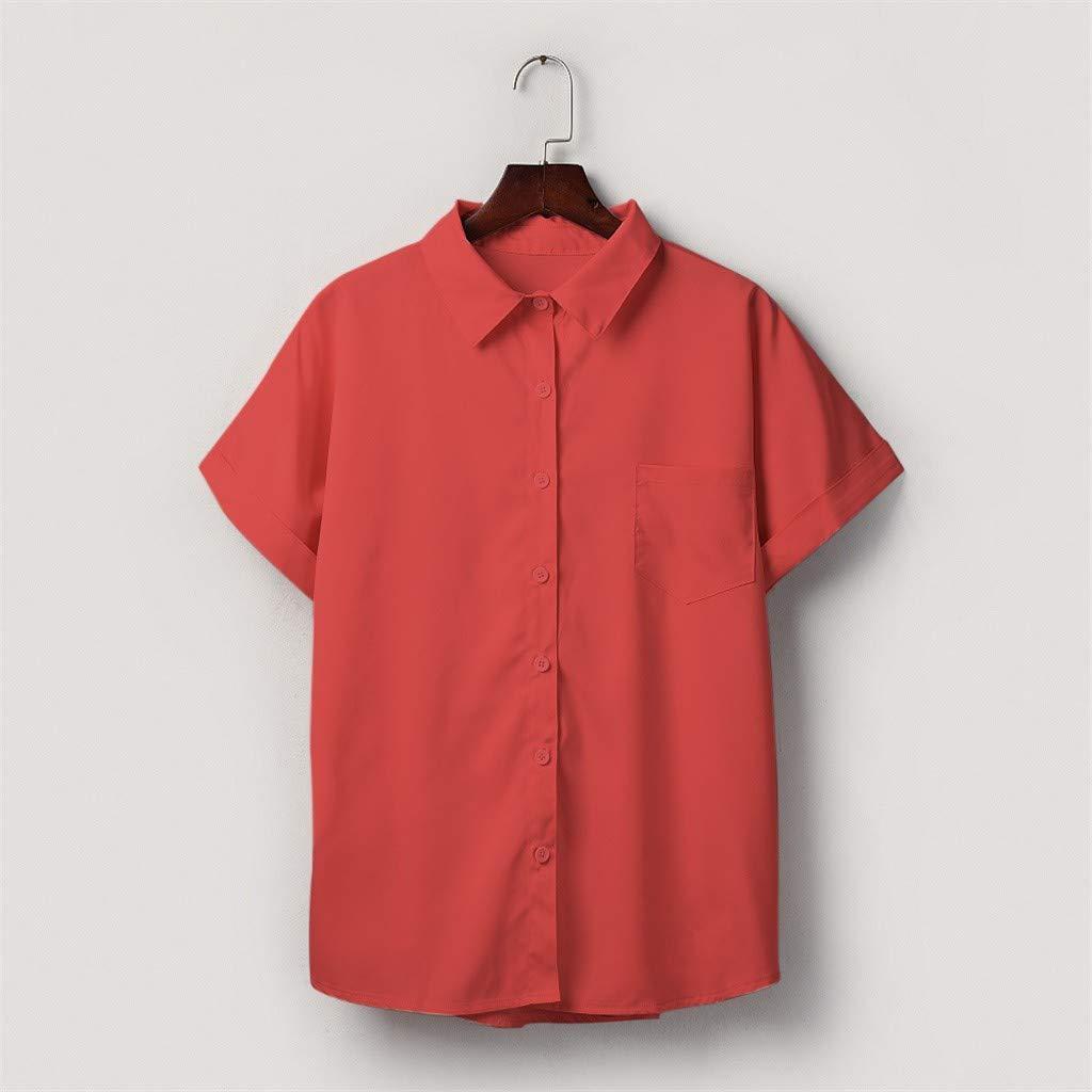 Moda Mujer Camisetas con bot/ón de Bolsillo Blusas de Manga Corta Camiseta Blusas Populares Casuales Tops s-3xl Btruely Camisetas para Mujer Verano