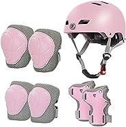 LANOVAGEAR Kids Helmet Knee Pads Ages 2-8, Adjustable Toddler Bike Helmet Knee Elbow Wrist Pads for Skating Sc