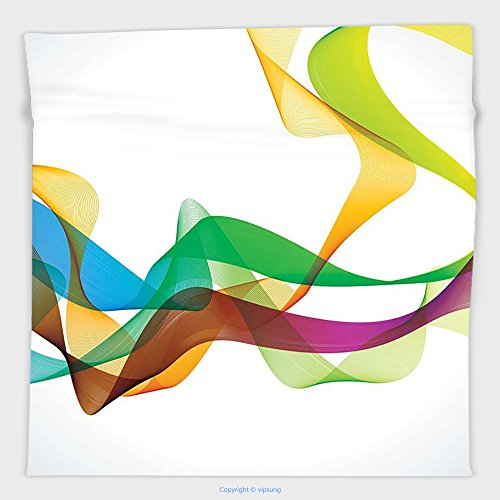 Vipsung Microfiber Ultra Soft Hand Towel-Abstract Decor Artistic Wavy Ribbon Line And Smoke Rainbow Like Cool Graphic Artwork Multi Colored For Hotel Spa Beach Pool - Logo Fair Pacific