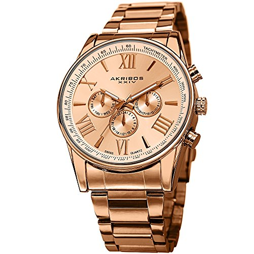 (Akribos Multi-Function Stainless Steel Bracelet Watch - Three Hand Movement with Two Time Zones and Date Complication - Men's Ultimate Swiss Watch - AK736 (Rose Gold))