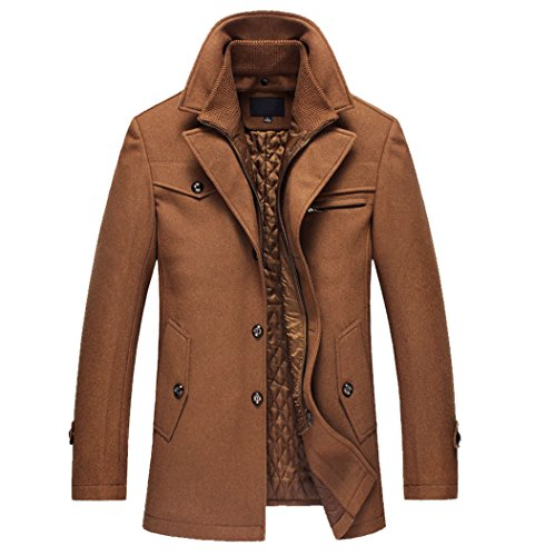 Qinni-shop Men's Winter Stylish Wool Blend Single Breasted Military Peacoat (Light Tan, XL)