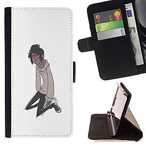 BullDog Case - FOR/Sony Xperia Z1 L39 / - / RED EYES MONSTER CARTOON CHARACTER BOY /- Monedero de cuero de la PU Llevar cubierta de la caja con el ID Credit Card Slots Flip funda de cuer