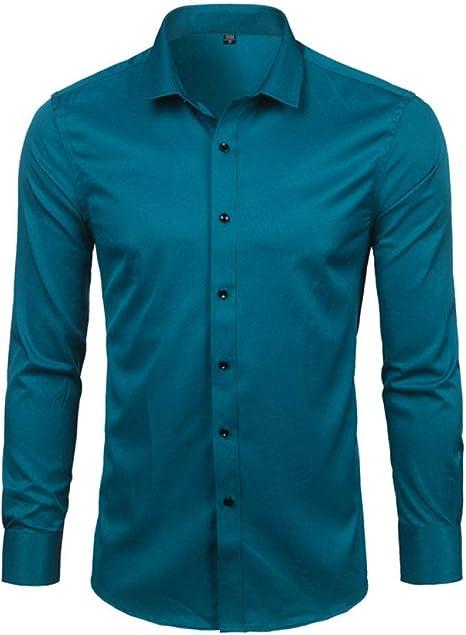 YFSLC-Studio Camisa De Manga Larga Hombre,Azul Oscuro Vestido De Fibra De Bambú Mens Camisas Slim Fit Larga SleeveCasual Abajo Elásticos Cómodos Formal Camisa Masculina: Amazon.es: Deportes y aire libre