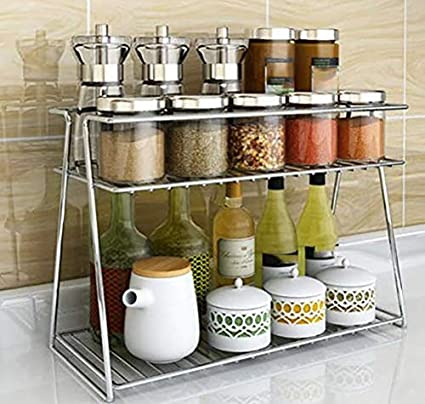 Buy Everex Stainless Steel Spice 2 Tier Trolley Container Organizer Organiser Basket For Boxes Utensils Dishes Plates For Home Multipurpose Kitchen Storage Shelf Shelves Holder Stand Rack Online At Low Prices In India