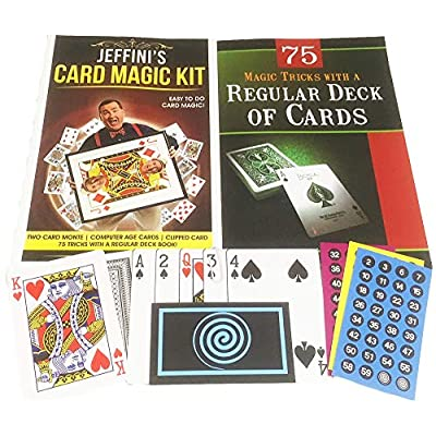 Jeffini Magic Jeffini's Card Magic KIT - Two Card Monte Trick, Computer Age Cards Trick, Clipped Card Trick, Plus 75 Tricks with a Regular Deck Book: Toys & Games